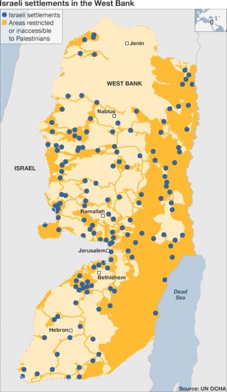 Map van illegale nederzettingen