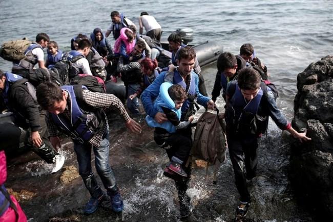 Vluchtelingen op de kust van Griekenland