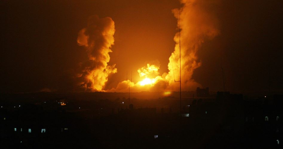 Airstrikes Gaza Monday morning